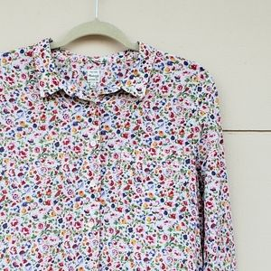 Madewell floral long sleeve button down top